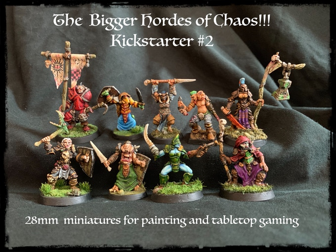 Nine more Chaos champions and warriors -Including a Female Musician, Pistoleer, Beast-woman,BattleMage, Champion, Cavalier, Two Headed, No-Headed and a PinHeaded Standard Bearer!!