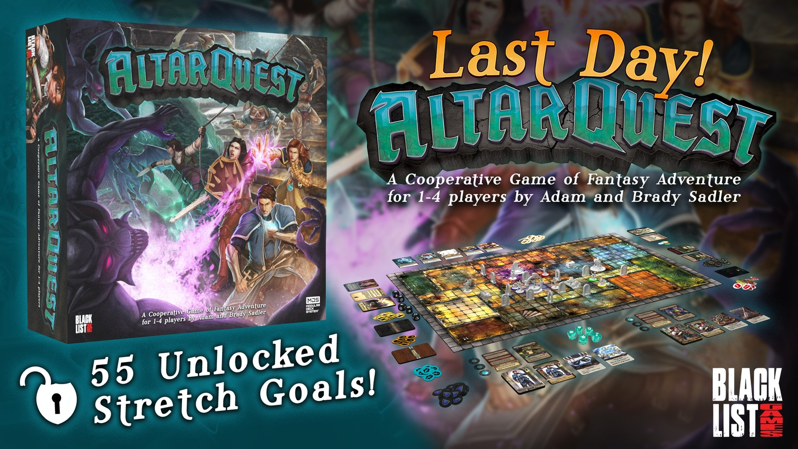 A cooperative game of fantasy adventure for 1-4 players designed by Adam and Brady Sadler.