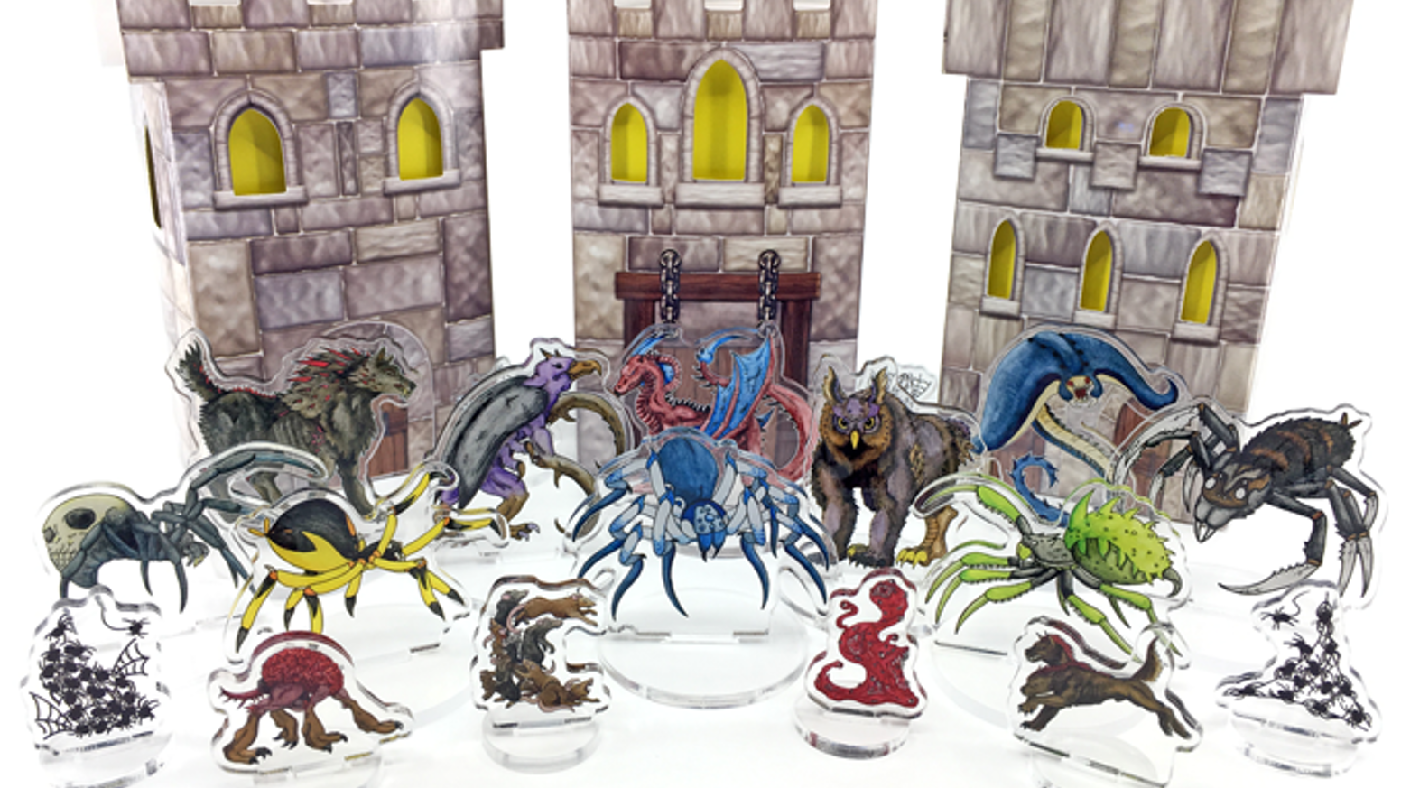 Traditional monster artwork printed between two clear acrylic layers. Convenient flat storage standees for role-playing tabletop games!