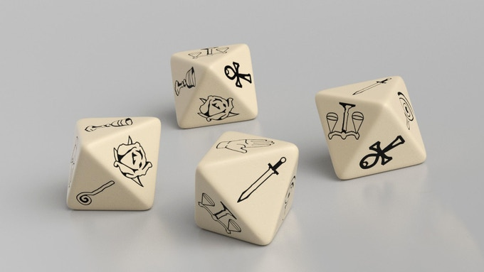 Virtue Polymer (AKA Poly) D8 (Eight Sided) Dice - RENDERING