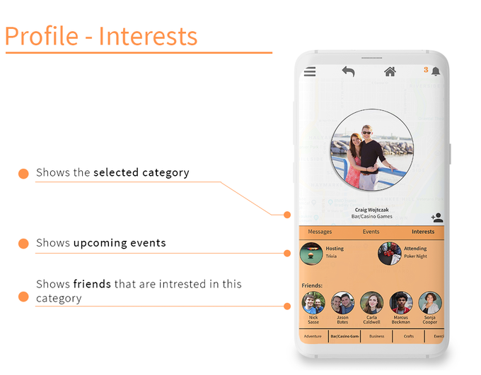See what categories your friends are interested in.