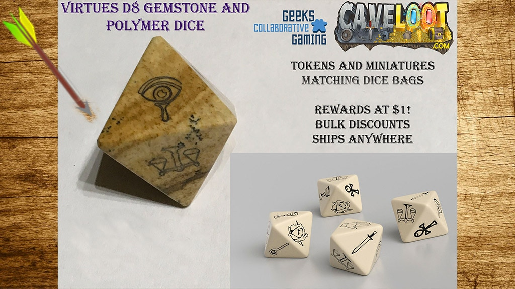 Project image for Virtue Symbol 8-Sided (D8) Engraved Dice