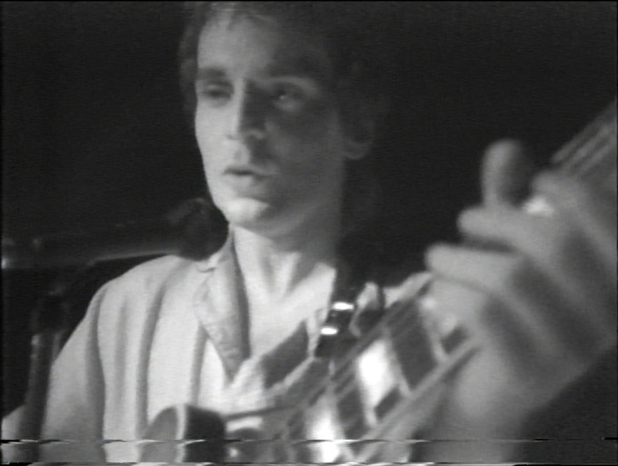Freeze frame from video of performance with Pantherburns at The Well -  Memphis, 1979