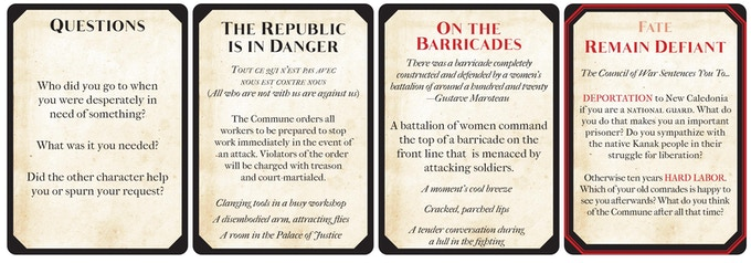 Examples of the cards used in the game