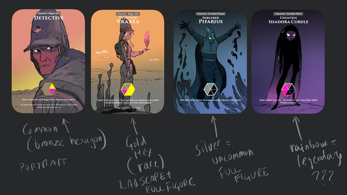 early concept art of the cards