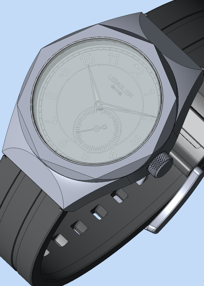 A later render of the Sport Classic, closer to the production version. I had to make some changes to the case design due to feasibility and water resistance. I also wanted a more robust look to the timepiece.