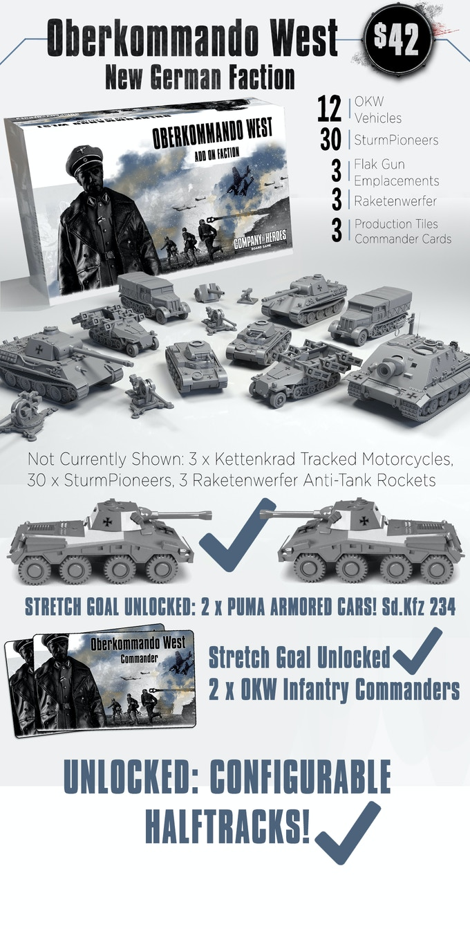 This is a faction pack that allows you to play with a different type of German faction. This faction focuses on mobility and its light vehicles as well as the ability to create bases anywhere on the map. Note that this is not a 5th player expansion.