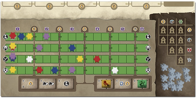 The Track Board shows how much influence each player is collecting, the available privilege tiles, the Knights in the Hero's Tomb, and the cost of Citizens available for recruiting.