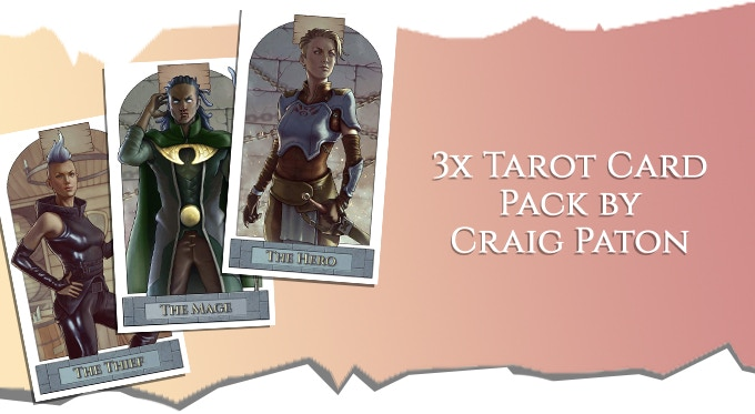 Some tiers also have a three-pack of tarot cards featuring our heroes, by KILLTOPIA artist Craig Paton