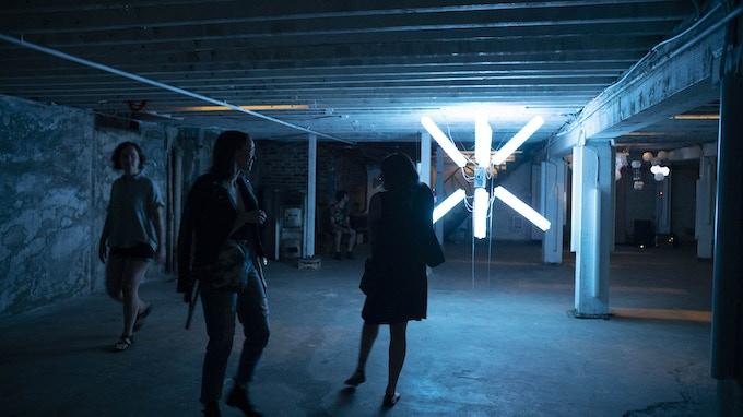 SPACEFILLER light/sound installation at LoveCityLove. Photography: Cameron Fletcher.
