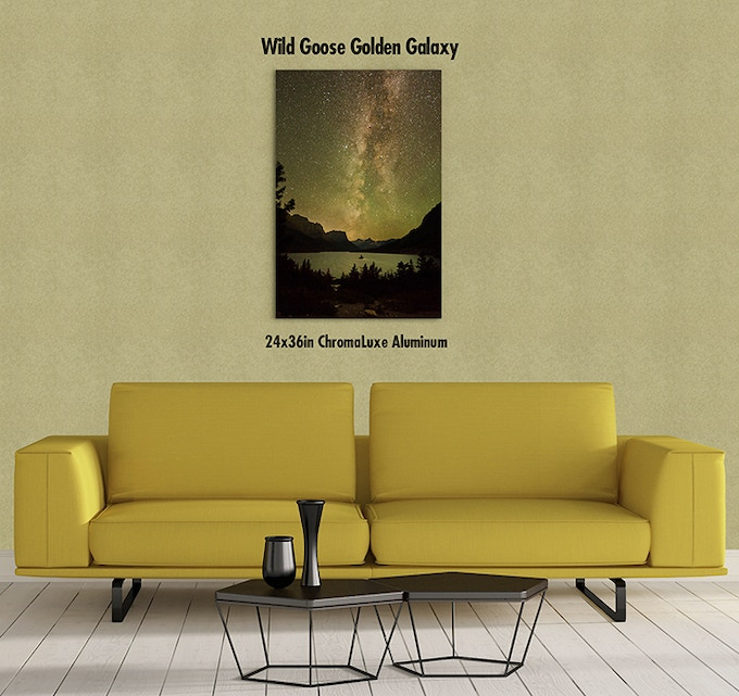 24x36 Wild Goose Golden Galaxy (St Mary Lake) Print on Metal