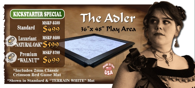 The Adler 36 x 48 play area shown in Standard with White Mat(Click picture to see game orientations)