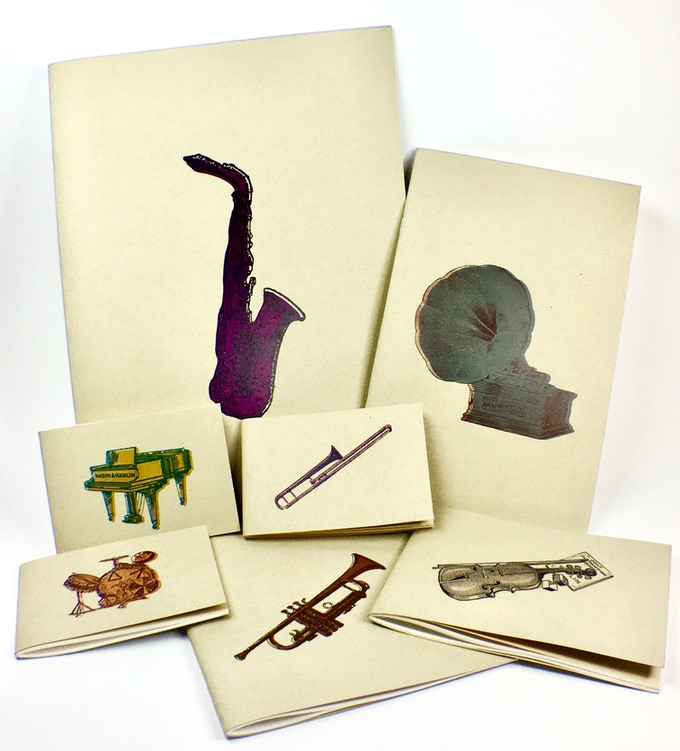Our sketchbook collection is printer and assembled in New Orleans with graphics from historic New Orleans newspaper advertisements from the Jazz Era