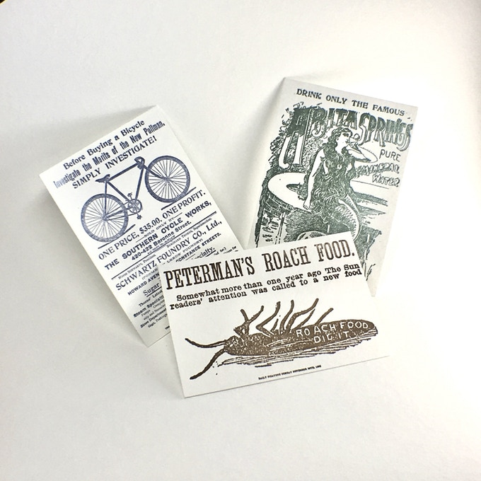 Postcards set: advertisement reproductions letterpress printed on super thick 600GSM cotton