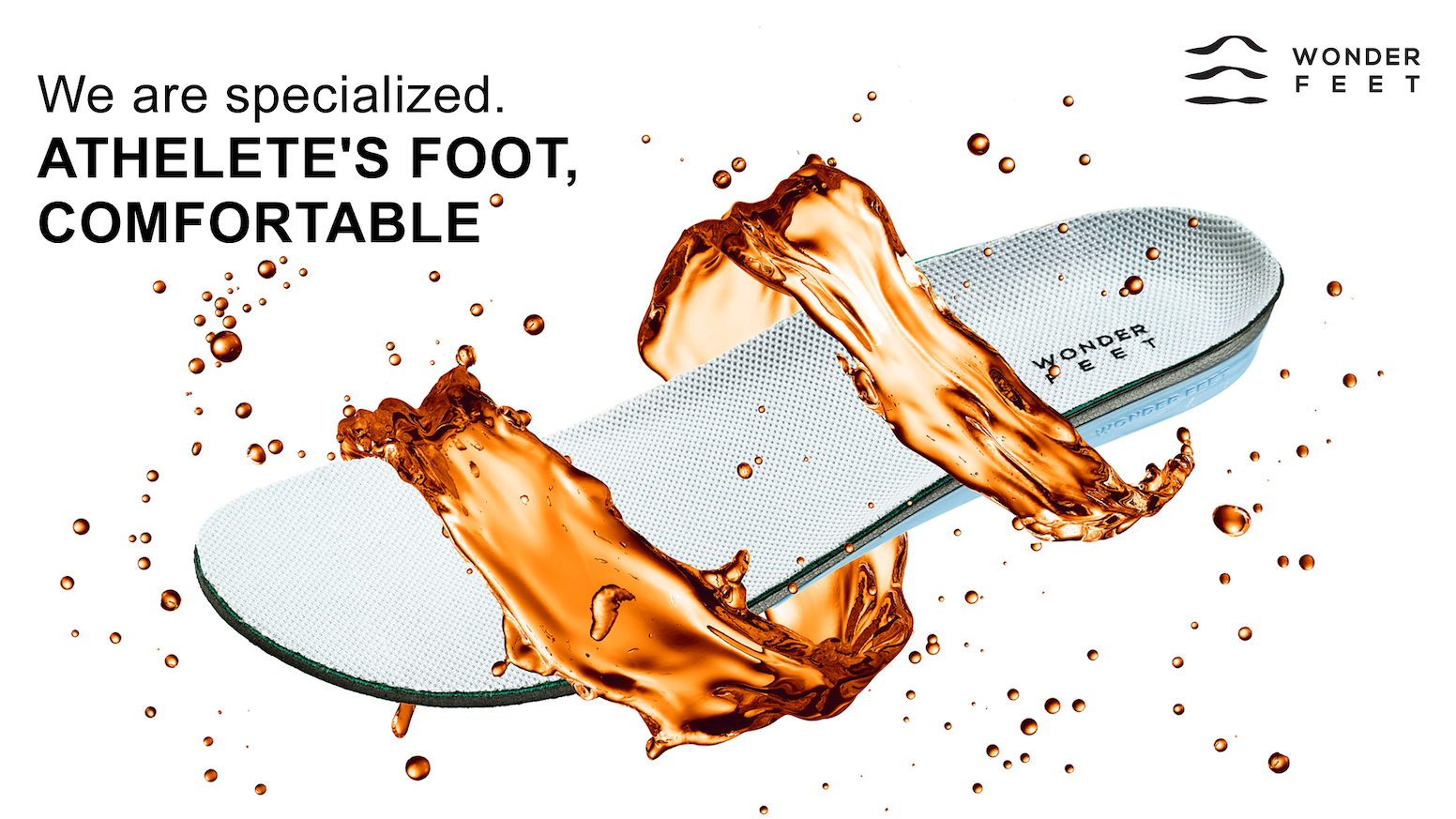 The Wonder feet Insole has an Antibacterial copper fabric insole for excellent control of athlete's foot and foot odor.