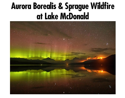 Aurora Borealis and Sprage Wildfire at Lake McDonald, August 2017