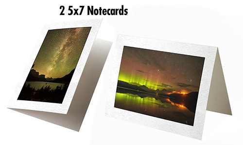 2 5x7 Notecards, will be sent with blank envelopes