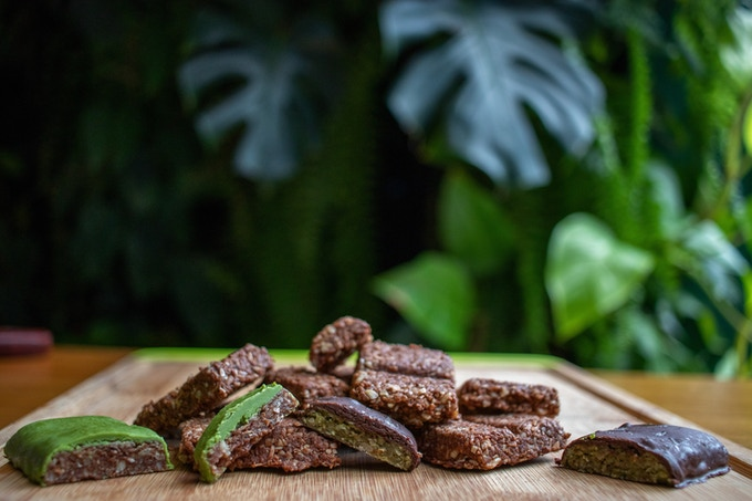 Trials of our prototype keto nut bars topped with keto chocolate for evaluation