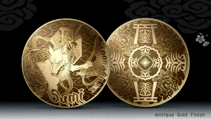 Front & back of Coin 1 in Antique Gold Finish