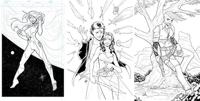 A sample of Garth's previous black-and-white commissions!
