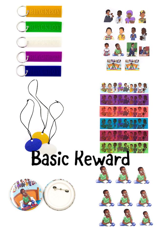 Basic Reward Package:key chain, necklace, button, magnet, bookmarks and sticker packet.