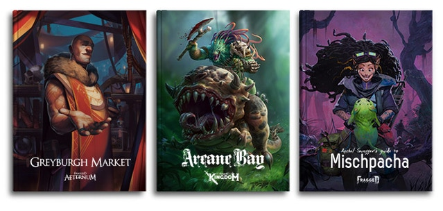 Three new map-filled region based RPG books for Fragged Empire (Mishpacha), Aeternum (Greyburgh Market) and Kingdom (Arcane Bay). These books will have a focus on lore, with plenty of maps, factions, NPCs and locations. They will also include additional rule options for PCs and GMs.