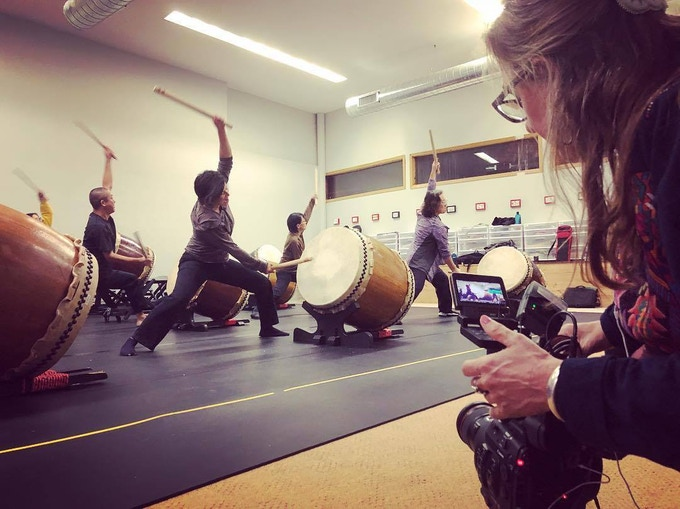 Director of Photographer, Keri Pickett filming Enso Daiko practice.