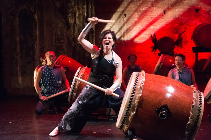 Megan Chao Smith (USA) performs with Enso Daiko at the Southern Theater. Photo by Rich Ryan.