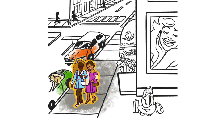 Illustration by Tesh Silver: Marsha and Sylvia walk arm and arm down Christopher Street