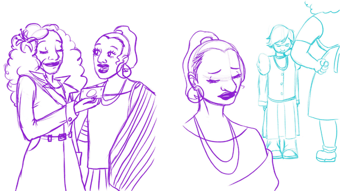 Sketches by Tesh Silver: Marsha hands Sylvia a dollar and Sylvia remembers her childhood