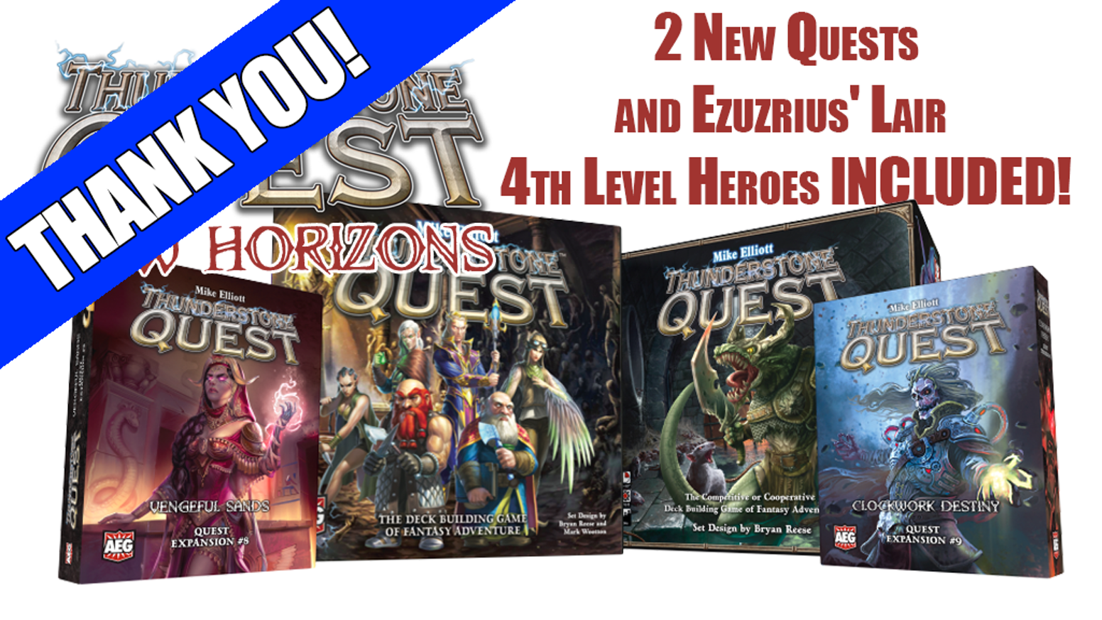 Mike Elliott's deckbuilding game of heroic adventure returns with two new Quests and 4th Level Heroes!