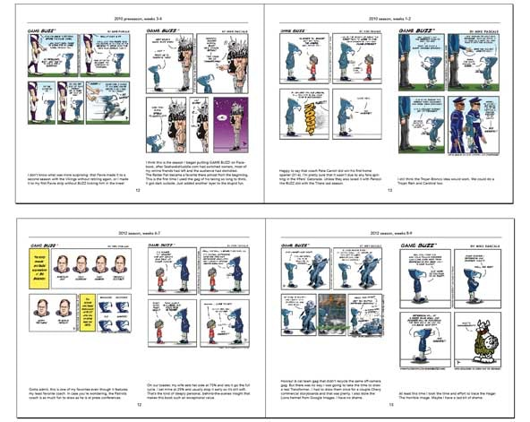 Two sample spreads (two strips per page), with commentaries.