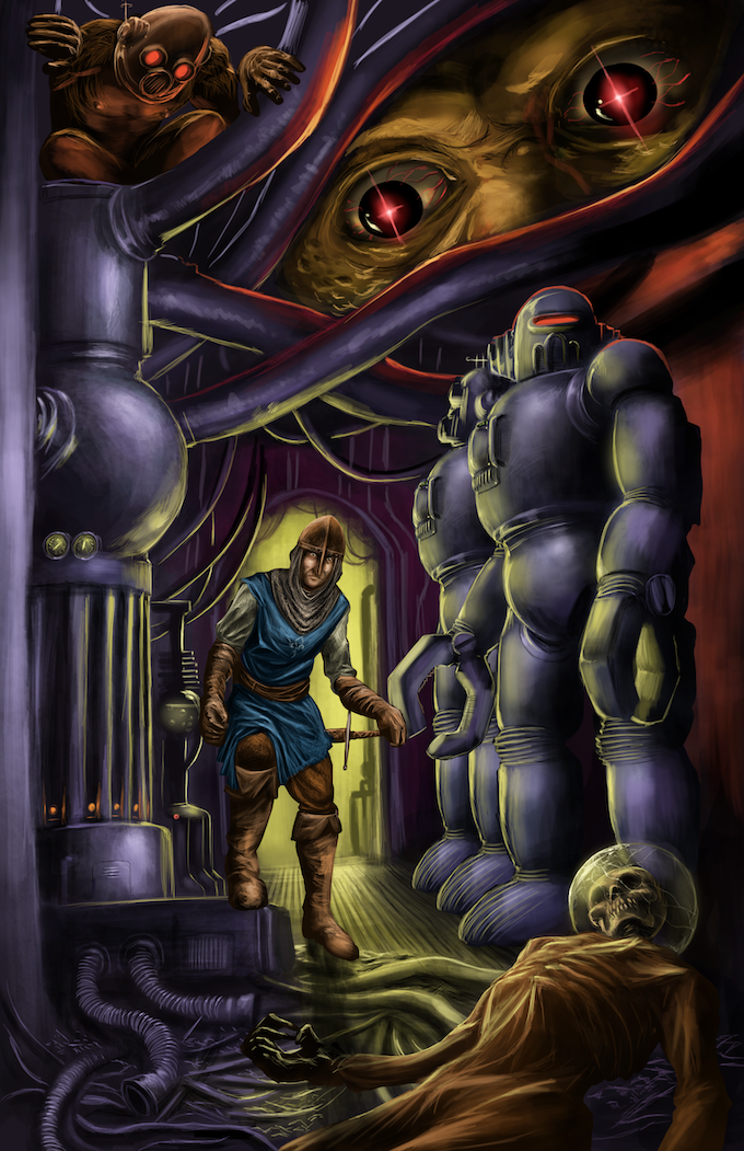 Journey to a forbidden place that lies abandoned and dreaming - a forgotten testament to an age of savagery and super-science! Art by Adrian Landeros