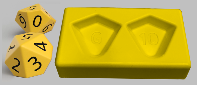 Concept Art: One yellow 0-99 dice cradle with one pair of spin-down D10's