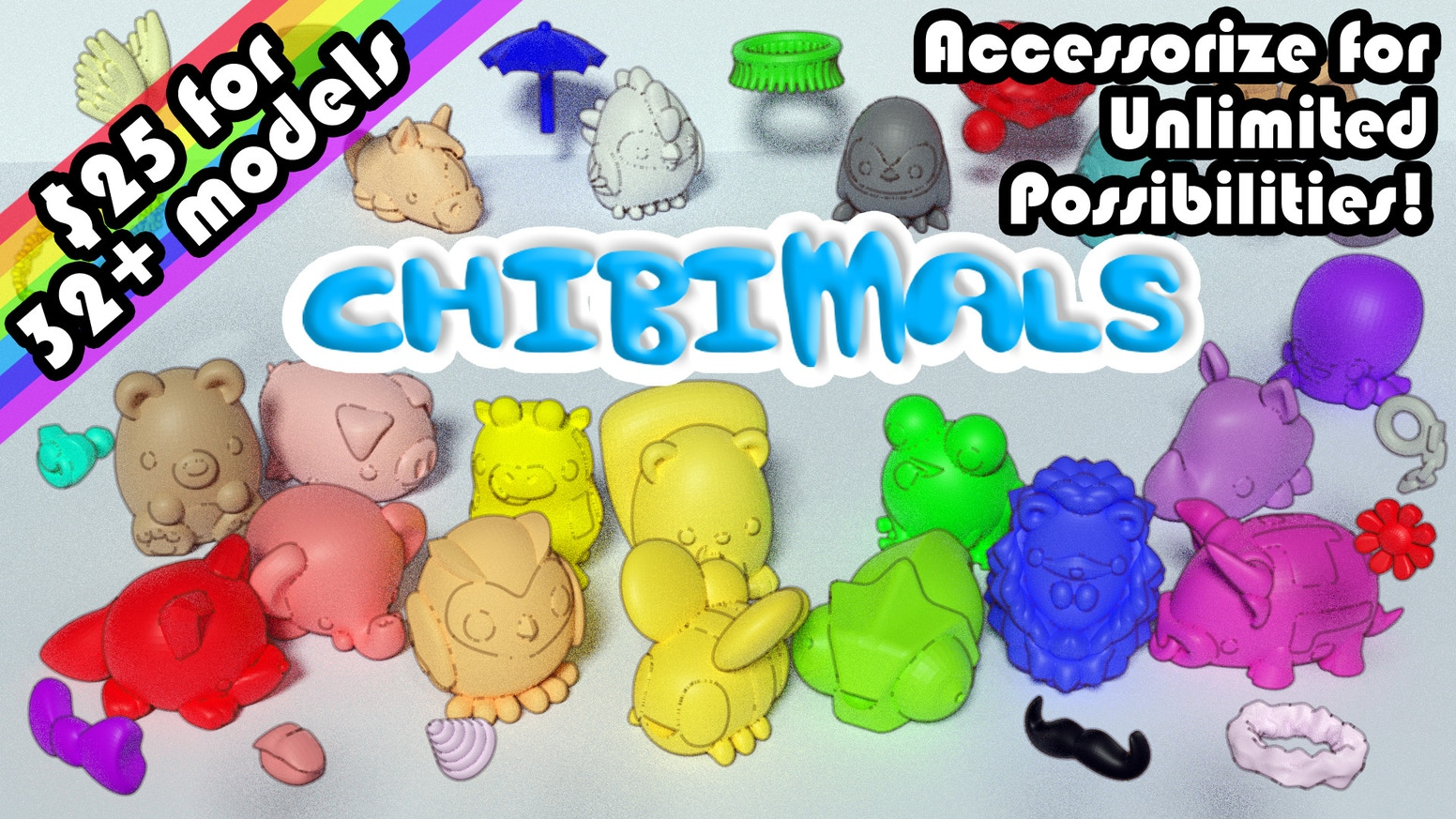 A library of Chibi Animals for your 3D printer!