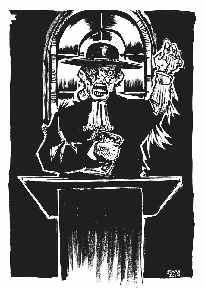 Obadiah Wotts, the twisted patriarch of the murderous crater folk of Howling Crater. Art by Edwin Bickford III.