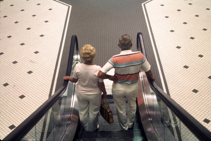 "Framed image #1 ""Escalator couple"" from Nasher Museum show - 1 framed print available"