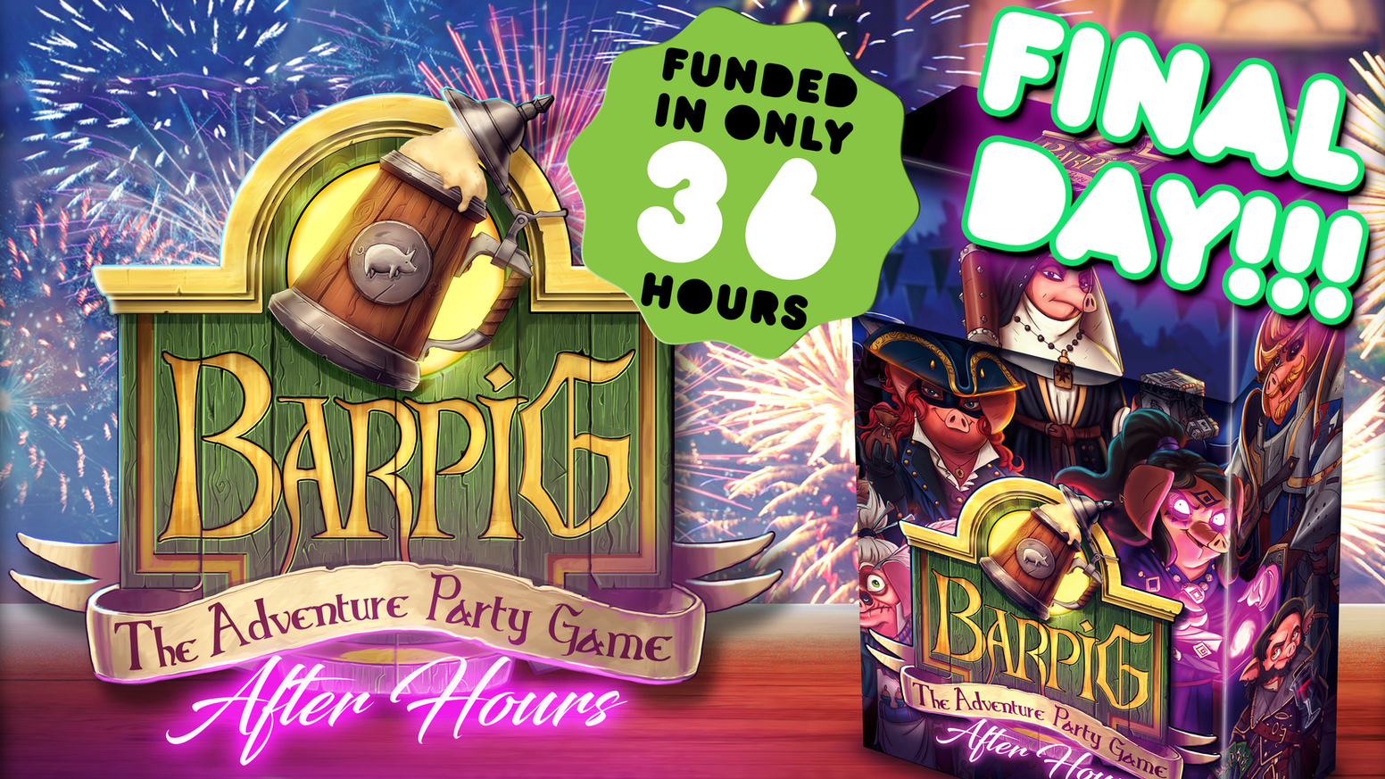 BARPIG: After Hours is the sequel to the highly successful BARPIG - The Adventure Party Game. Playable stand-alone or as an expansion.