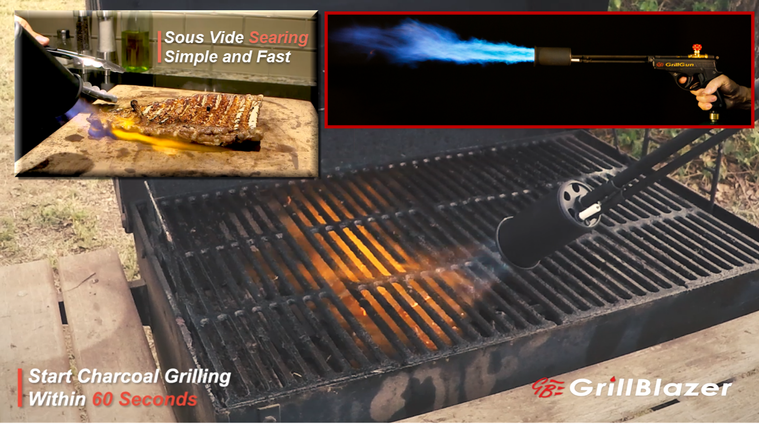 Light your Charcoal Grill in 60 Seconds! Sear your Meat with Real Hot Fire!  Also the best torch for picnics, campfires, bonfires, etc.