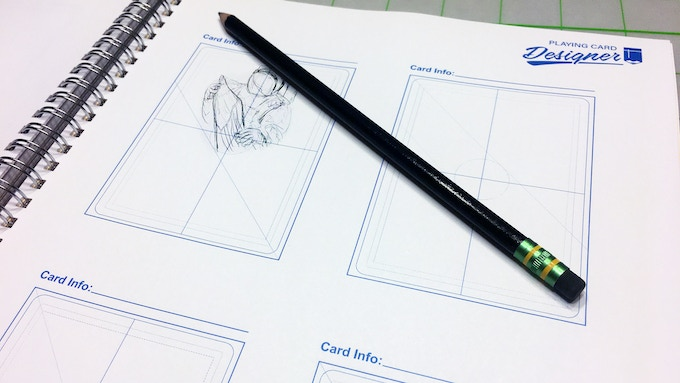 There's 14 sheets of quarter pages layouts. These layouts are the same size as a poker sized playing cards. We use these pages to do rough sketches.