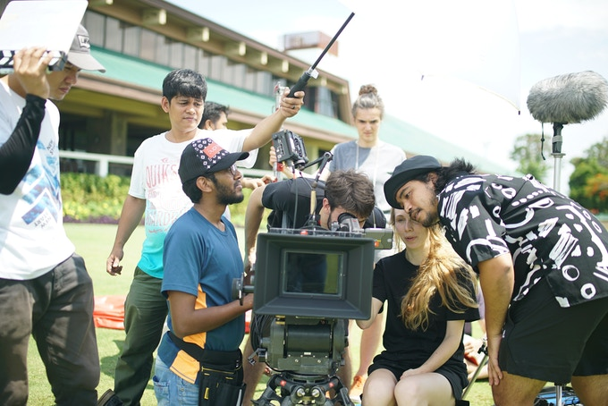 The crew on location at the Alabang Country Club. BTS by Hazel Vergara