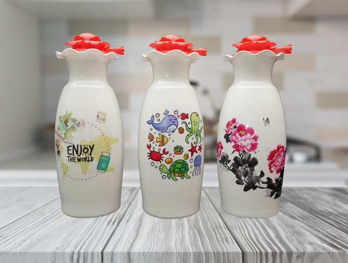 Elastic lotion pump with vase shaped Bottle A.