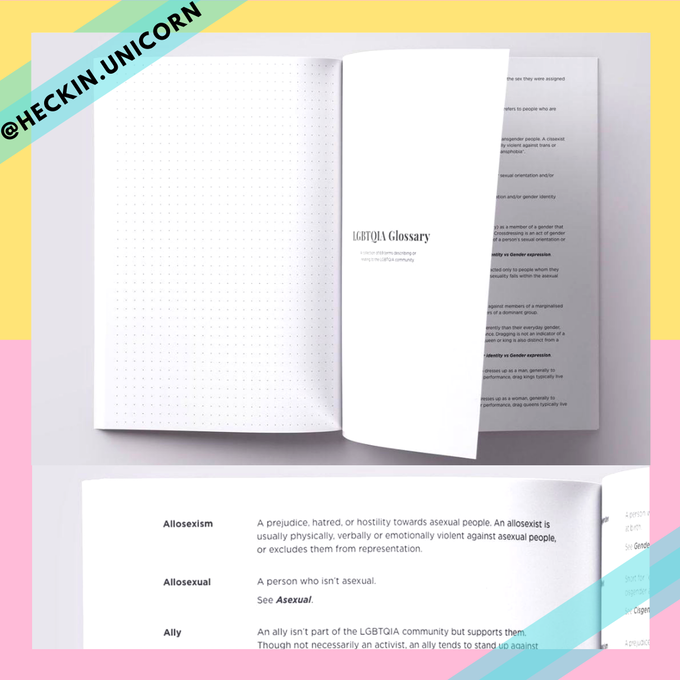 A sneak peak at the Glossary section of Heckin Unicorn's The Gay Agenda notebook, with 69 terms!