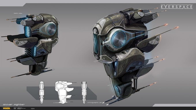 Refined concept art of an Okkar fighter for EVERSPACE 2 by Volta