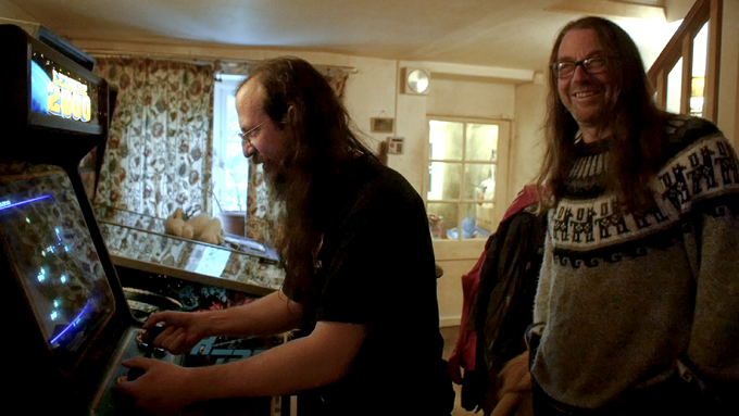 Ivan (left) and Jeff (right) take a break from programming at the Llamasoft farm in Wales.
