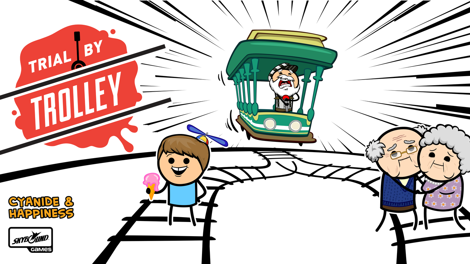 A party game of moral dilemmas and trolley murder.