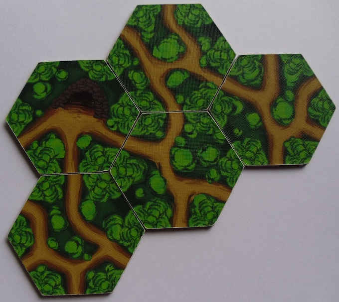 Forest Tile samples. As with Starter Tile, pre-production, so final tiles will have rounded corners.