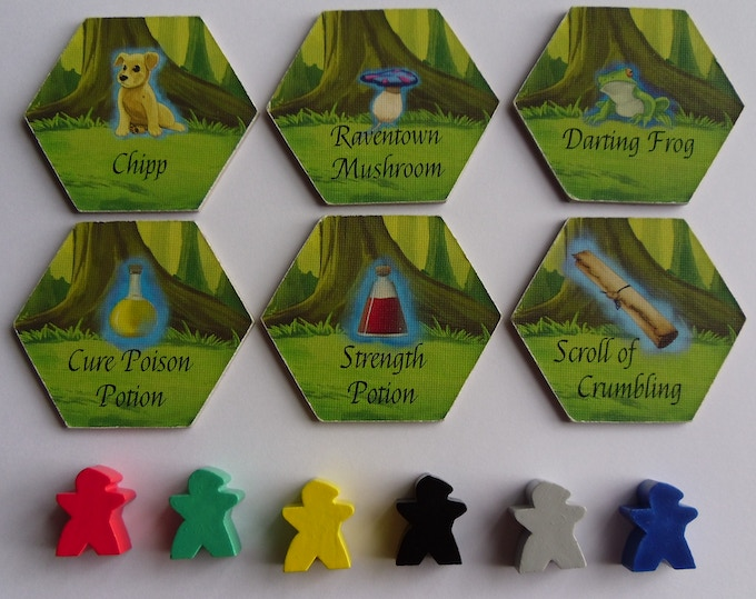 Assignment Tile, Item Tile samples, Meeples. Tiles will have rounded corners in retail version.
