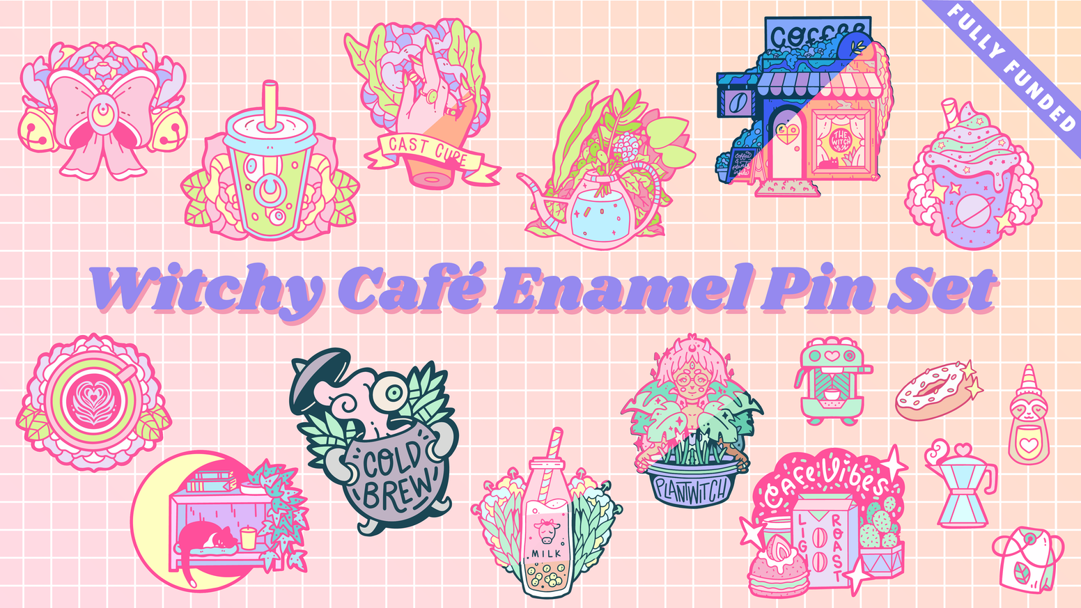 A pastel witch pin set featuring coffee, tea, greenery, and café themes.