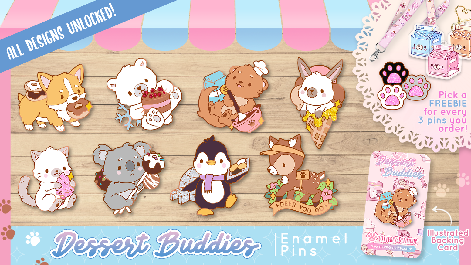 A set of hard enamel pins featuring cute animals with a passion for preparing (and eating) desserts!